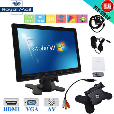 "10.1"" LED Screen TFT CCTV Monitor AV/VGA/HDMI Input Surveillance with Speaker UK"