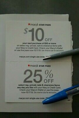 Macy's Star Pass Offers! $10 off $30 &  25% off.  Expires 10/7/19. Fast Delivery