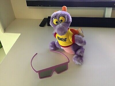 "Figment Plush 11"" Epcot Disneyland 1982 Vintage  Dragon Disney ,ride glasses,3d"