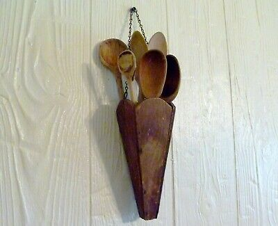 Antique PRIMITIVE Wood HANGING VASE Wall Pocket 6 SPOON BOUQUET AAFA