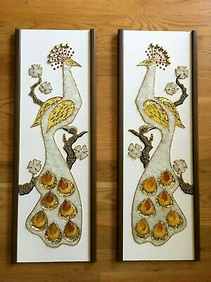Vtg Mcm Mid Century Modern Gravel Pebble Art Peacocks Birds Pr Wall Hanging
