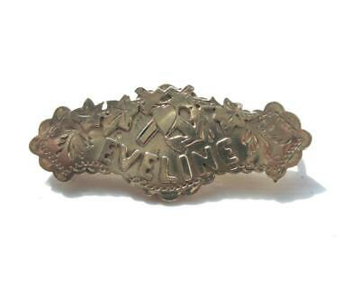 Antique Victorian Silver Name Brooch Pin  - Eveline - Hallmarked Chester 1890