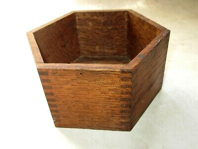 """Vintage 5 1/8"""" Hexoganal Oak Wooden Box with Dovetailed Jointed Corners"""