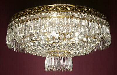 Large Brass Glass Ceiling Lamp Icicle Light Chandelier Lustre Used