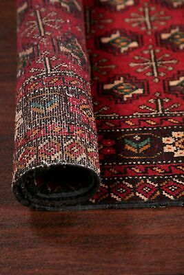 Geometric Balouch Afghan RED Runner Rug Hand-Knotted Oriental Wool Carpet 3'x8'