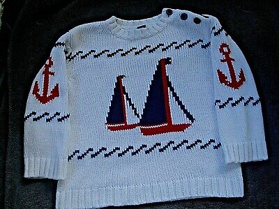 baby Gap Toddler Boy Beige Pullover Nautical Sweater Sailboats Anchors Size 2T