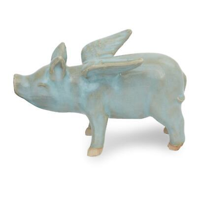 Celadon Ceramic Figurine Handcrafted 'Flying Blue Pig' NOVICA Thailand