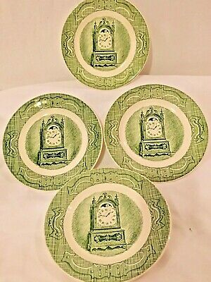 "4 - Royal (USA) The Old Curiosity Shop Bread & Butter Plates 6-1/4"" Green Clock"
