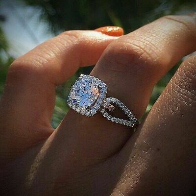 Women Sapphire Jewelry Wedding For Engagement Ring 925 Silver Rings White Bridal