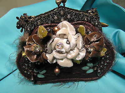 Mary Frances evening occasion jeweled bag purse clutch Brown/olive/Ivory