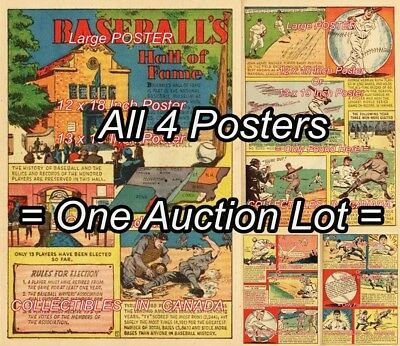"BASEBALL HALL OF FAME 1941 Ruth SPORTS BAR =4 POSTERS Not Comic 2 SIZES 18""or19"""