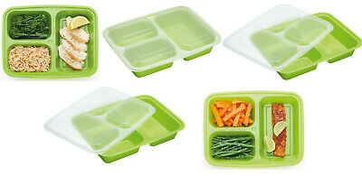5 x Kitchencraft Healthy Eating Portion Control Food Trays Lunch Boxes & Lids