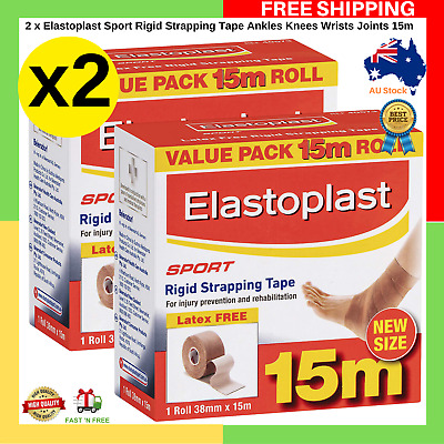 NEW SIZE Elastoplast Sport Rigid Strapping Tape Ankles Knees Wrists Joints 15m