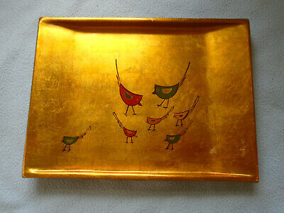 Japanese Lacquerware Gold Leaf Tray Featuring Birds