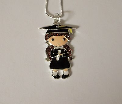 CUTE GIRL GRADUATION Inspired Large Charm NECKLACE + Rhinestones University Gift