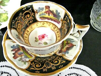Antique English Porcelain Riley C1825 tea cup and saucer scenes black teacup hpt