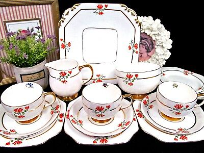 CARLTON WARE tea cup and saucer cake plate creamer sugar set painted teacup