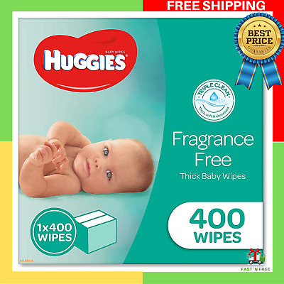 HUGGIES Baby Wipes Fragrance Free Baby Wipes 400 Wipes Refill Pack | FREE SHIP