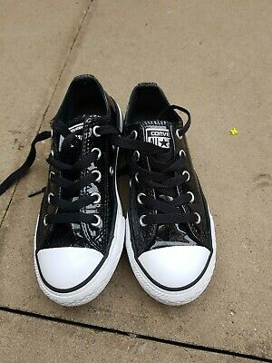 Boys Girls Infants Black Glittery Low Top All Star Converse Trainers  Size Uk 12
