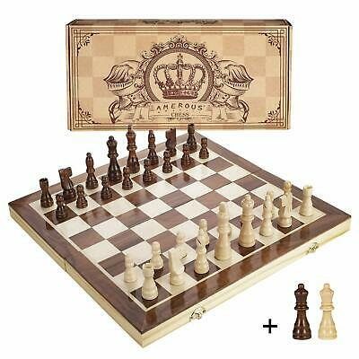 15 Inches Magnetic Wooden Chess Set - 2 Extra Queens - Folding Board Handmade
