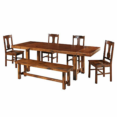 Delacora WE-BD60H2  Dripping Springs Six Piece Wood Dining Table Set - Oak