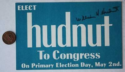1972 Bill Hudnut for Indianapolis Congressman signed/autographed voter postcard*