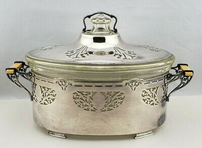 Antique Pyrex Glass Casserole Meriden Silverplate Art Deco Holder