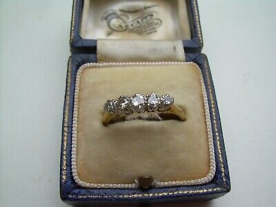 Antique Victorian 18ct Gold 5 Stone Old Cut Natural Diamond Ring Size P.