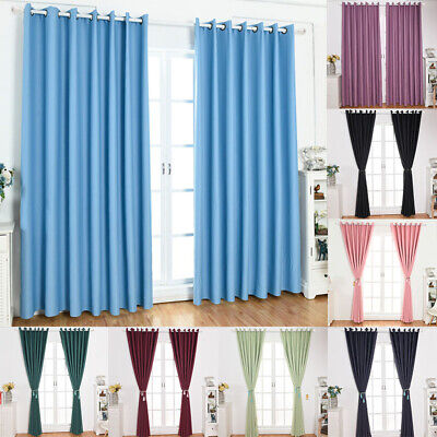 Thermal Blackout Curtains Panel Ready Made Slot Eyelet Top Window Curtain UK