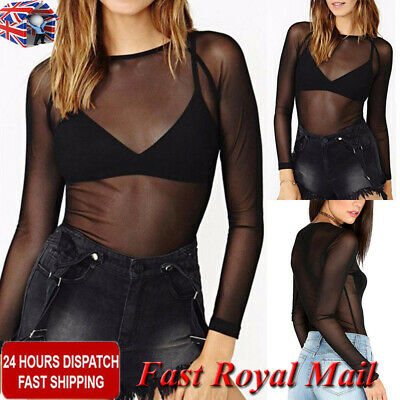 Women Mesh See-through Blouse Shirt Ladies Long Sleeve Party Club Cover Top Vest