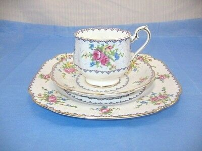 "Royal Albert England Petit Point Bone China TRIO TEACUP SAUCER &  7-3/4"" Plate"