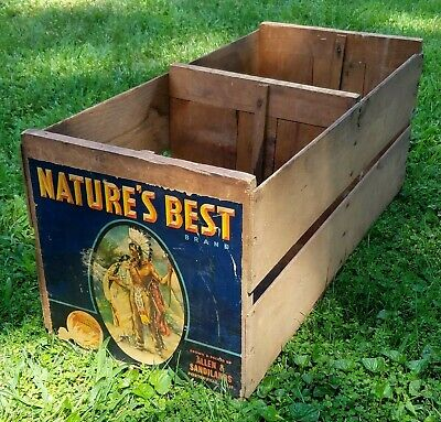 Antique Wooden Indian Sunkist Orange Crate Porterville CA  LOCAL PICK UP ONLY
