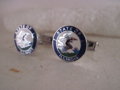 Illinois     State Seal cloison logo cufflinks **