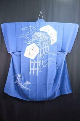 06v17077 Men LARGE Silk Vintage Japanese Kimono Juban Scenery with Shibori