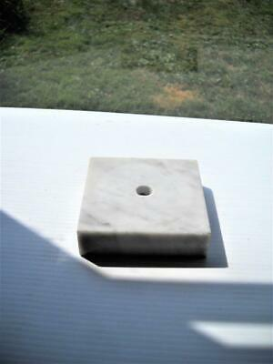 """Marble Lamp Base 3-3/4"""" Square x 1"""" Tall - Hole Drilled Thru One Side For Cord"""