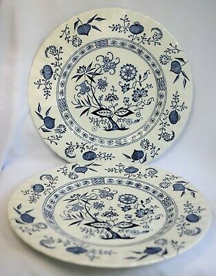 2 Classic J&G Meakin Blue Nordic Blue Onion Dinner Plates 9 7/8 Inch England
