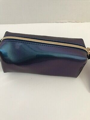 sonia kashuk double zip makeup organizer bag blue marble