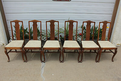 6 Antique Walnut Queen Anne T Back Formal Dining Chairs Webster Co Superior WIS