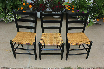 Antique Set of 3 Slat Ladder Back Shaker Chairs Basket Weave Rattan Rush Seats