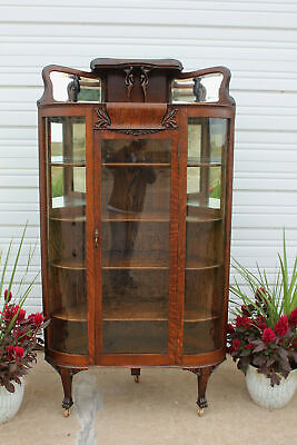 Antique Quartersawn Oak Claw Foot Corner China Cabinet Heron Egret Stork Mirrors