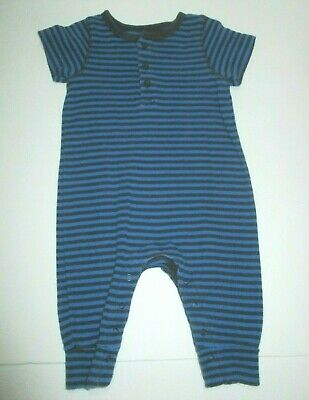 Infant Boys Baby Gap Blue Striped Longall Outfit Size 0-3 Months