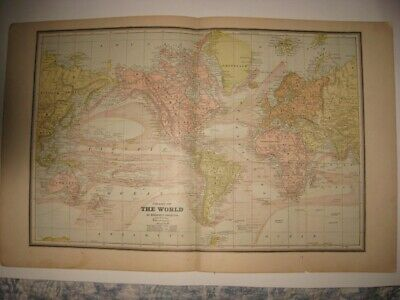 Antique 1887 Eastern Hemisphere & World Map Africa Europe Australia Mountain Nr