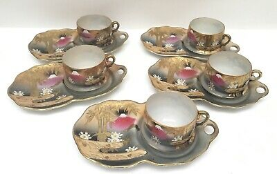 5 Beautiful VTG Japanese Snack Set Eggshell Cup Plate Mt Fuji Bamboo Gold Japan