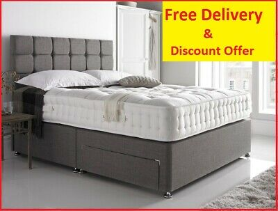 Grey Divan Storage Bed With Memory Mattress-Headboard-Drawers  [Free Delivery]