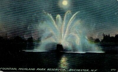 HIGHLAND PARK RESERVOIR ~ fountain at night colored lights