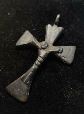 Authentic Early Medieval big bronze Knights Templar Cross Pendant Depicting Cruc