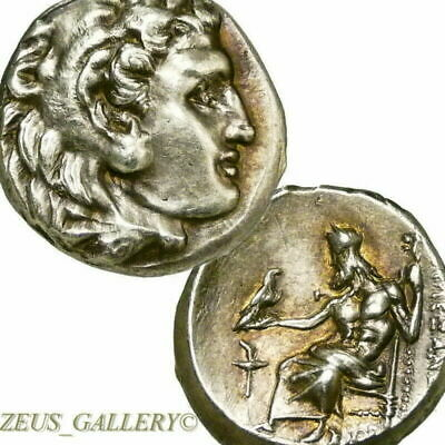 ALEXANDER the Great LIFETIME Issue Coin R! ¾ Zeus Ancient Greek Silver Herakles