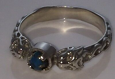 Lion Goddess Ring .925 Sterling Silver Sz 8 w/ Genuine Turquoise Medieval Lion