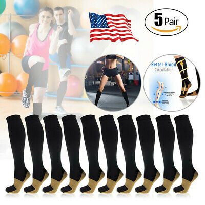 5 Pairs Mens Womens Copper Compression Socks 20-30mmHg Graduated Support Sports