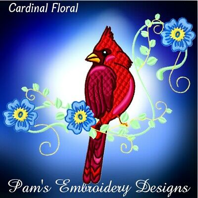 CARDINAL FLORAL 10 MACHINE EMBROIDERY DESIGNS CD or USB
